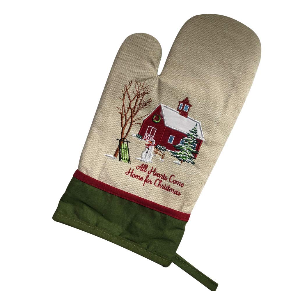 Nana Maria All Hearts Come Home for Christmas Oven Mitt, Oatmeal Color with Green Border, Featuring Barn, Sled, and Snowman