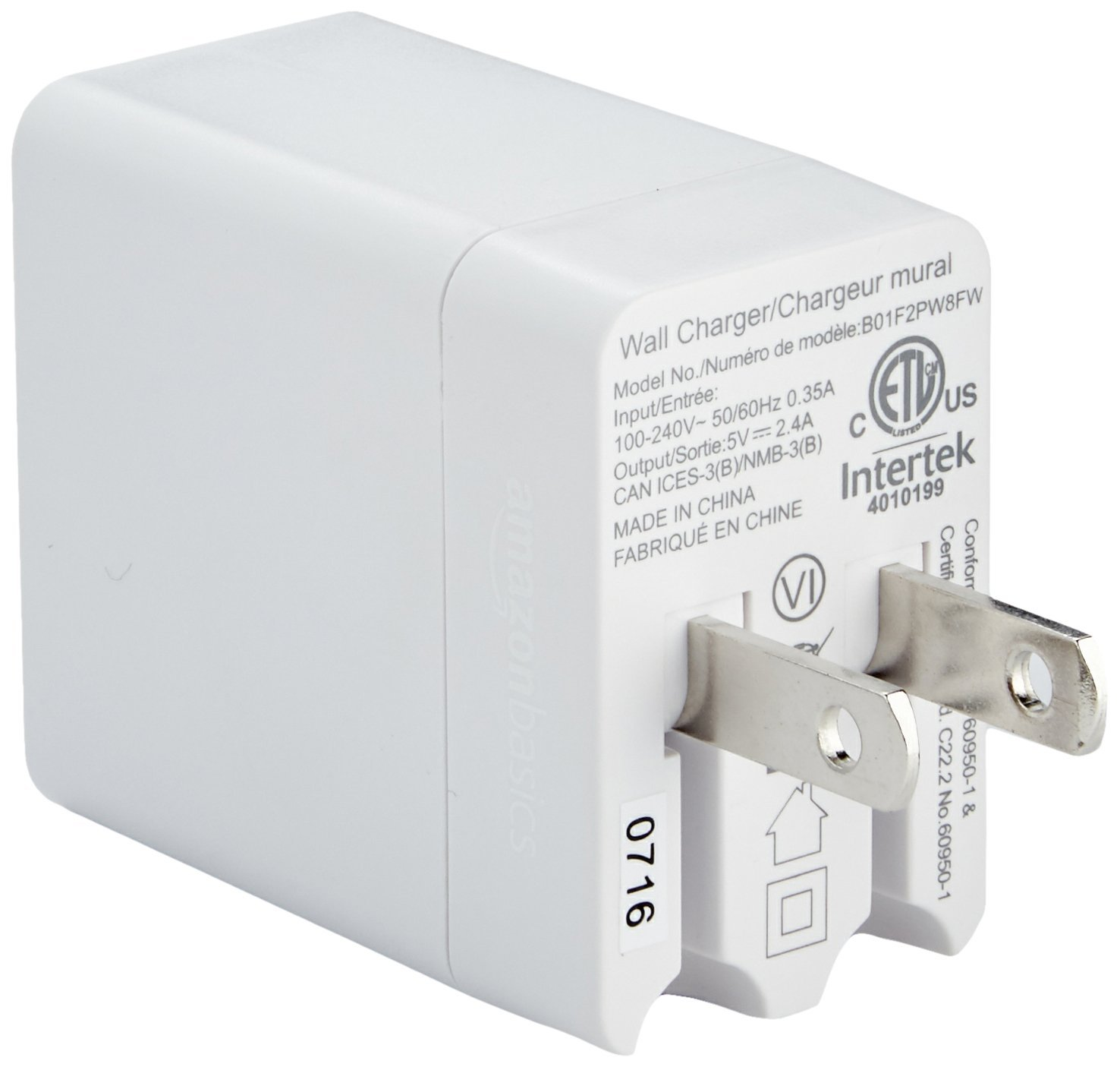 AmazonBasics One-Port USB Wall Charger (12-Watt) Compatible With iPhone and Samsung Phones - White (2-Pack) by AmazonBasics (Image #4)
