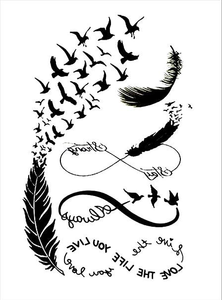 Tatuajes temporales de plumas de pájaros con 8 infinitos para ...