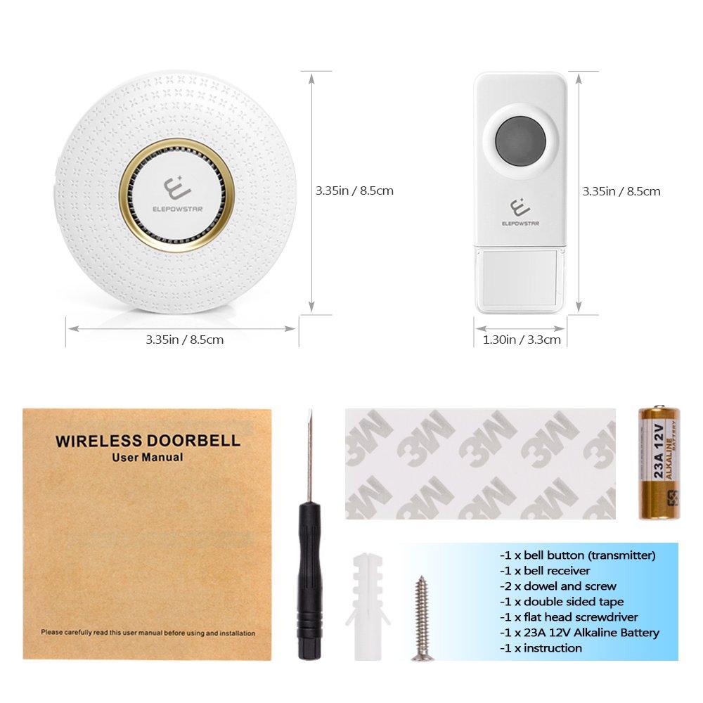 ELEPOWSTAR IP55 Timbre Impermeable Volumen Ajustable Alcance a 300m con 52 Melod/ías Timbre inal/ámbrico para Puerta timbre de puerta