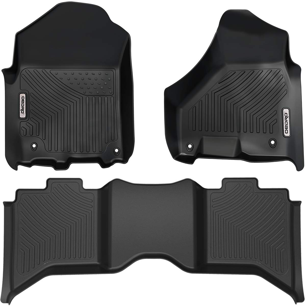 OEDRO Floor Mats Compatible for 2019-2021 Dodge Ram 1500 Classic Crew Cab, 2012-2018 Dodge Ram 1500/2500/3500 Crew Cab, Unique Black TPE All-Weather Guard Includes 1st and 2nd Row: Full Set Liners