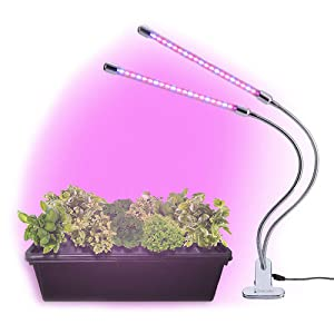 BriteLabs LED Grow Light for Indoor House Plants and Garden, 20W Plant Lights with 40 Red Blue Spectrum LEDs, Adjustable Dual Head Gooseneck Growing Lamps with Stand, 9 Dimmable Levels 3/9/12H Timer
