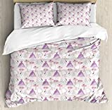 Swan Duvet Cover Set Queen Size by Ambesonne, Princess Dress Gown Magic Shoes Mirror and Cute Swans with Tiaras Pattern, Decorative 3 Piece Bedding Set with 2 Pillow Shams, Lavander Blush White
