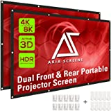 Akia Screens 120 inch Indoor Outdoor Collapsible Portable Projector Screen 16:9 Anti-Crease Foldable Dual Front Rear 8K…