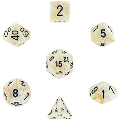 Chessex Manufacturing 27402 Cube Set Of 7 Dice - Marble Ivory With Black Numbering: Toys & Games