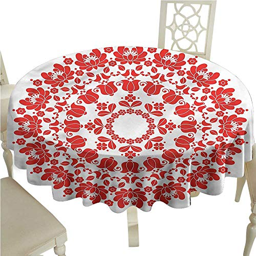 ScottDecor Dinning Tabletop Decoration Red Mandala,Hungarian Folk Art Dinning Tabletop Decoration Round Tablecloth D 36