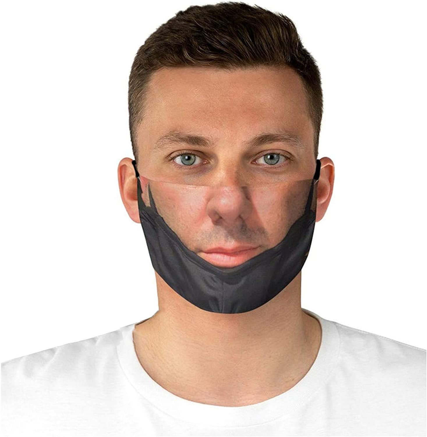 A Prank Face/_Masks for Adults Reusable Funny Face/_Masks Wearing a Mask Pulled Down Realistic Face Bandana Cloth Fabric Balaclavas Breathable Washable Pretend Mask Trick for Man Woman 2021 New