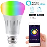 Smart LED Light Bulb, Wi-Fi Light Bulb, Multicolored LED Light Bulbs, A19, Dimmable, Smartphone Controlled Daylight & Night Light, Home Lighting, Compatible with Alexa