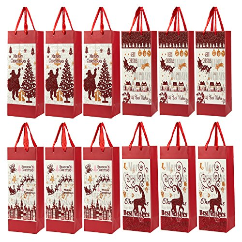 12-Pack Christmas Gift Wine Bags - Paper Bags with Satin Handles for Shopping, Alcohol Christmas Gifts, 4 Assorted Designs - 4 x 5 x 13.5 Inches (Wine Gifts Christmas)