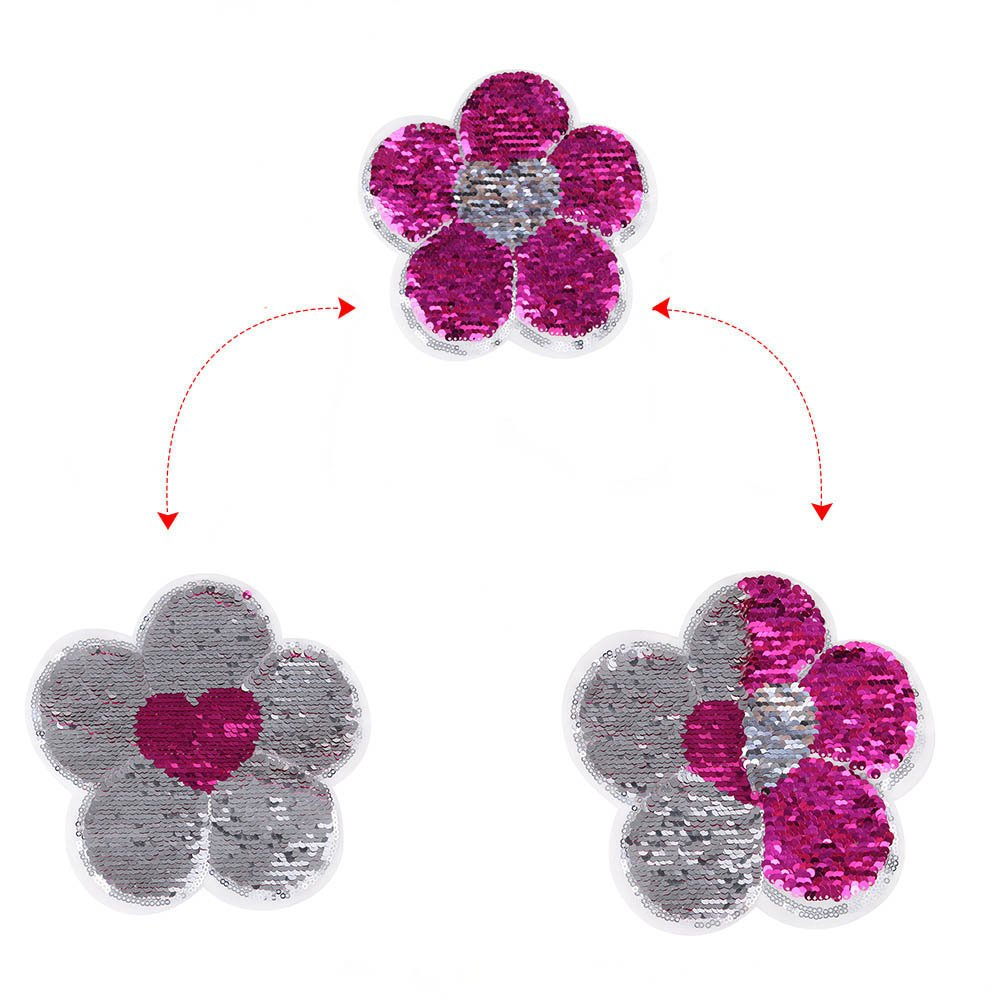 Flower Reversible Color Changing Sequins Sewing DIY Applique for Clothing Okdeals