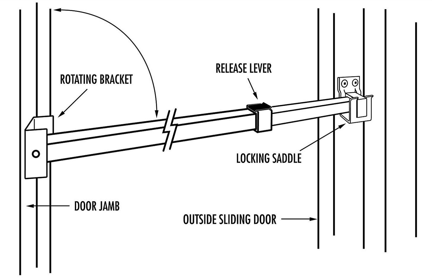 Ideal Security SK110 Patio Door Security Bar with Child-Proof Lock, Adjustable 25-48 inches for Ventilation, White by Ideal Security Inc. (Image #7)