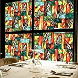 Fofon Privacy Window Film No Glue Frosted Static Self Adhesive Clings Stained Glass Painting Room Decorative Films (35.43 By 78.74 Inches)