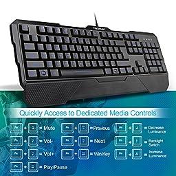 Tecknet Kraken 3 LED Adjustable Backlit Gaming Keyboard and Mouse - Black