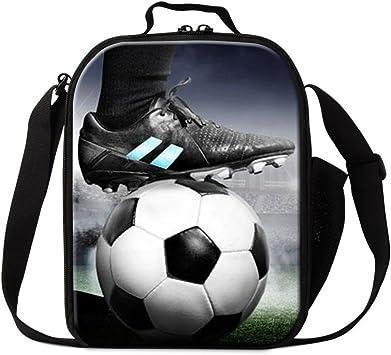 Men kids Soccer Ball Lunch Box Portable Insulated Picnic Cooler Bag School Work