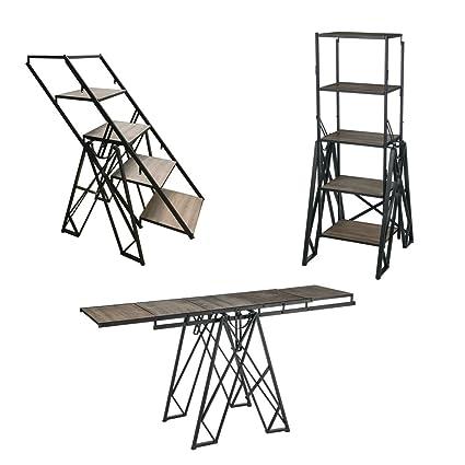Convertible Metal Display Unit Bookshelf Table Stair Step Ladder Shelf  60u0026quot;