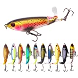 Nuguri Fishing Lures Topwater Bass Lure Whopper Plopper Lures with Floating Rotating Tail Barb Treble Hooks Artificial Hard B