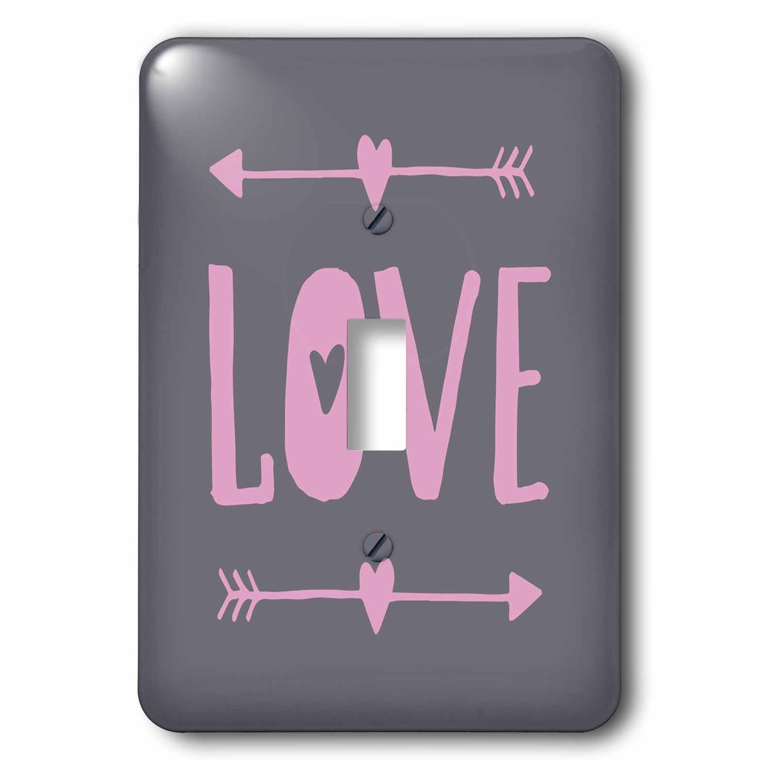 3dRose Andrea Haase Inspirational Typography - Love Typography Pink On Gray - Light Switch Covers - single toggle switch (lsp_282574_1)