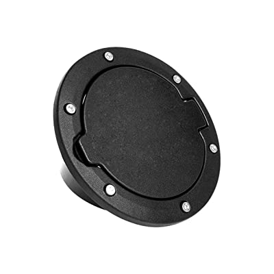 HOCOLO Aluminum Gas Cap Fuel Filler Door Gas Tank Cover for Jeep Wrangler JK & Unlimited Exterior Accessories Parts Off Road Sport Rubicon Sahara 2007-2020(Black): Automotive [5Bkhe0403312]
