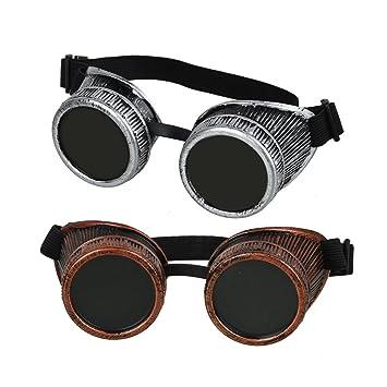 fontic Cyber Punk gótico gafas, 2pcs nuevo hecho a mano Steampunk Victorian Retro Vintage gafas de soldadura para cosplay disfraces de cartucho: Amazon.es: ...