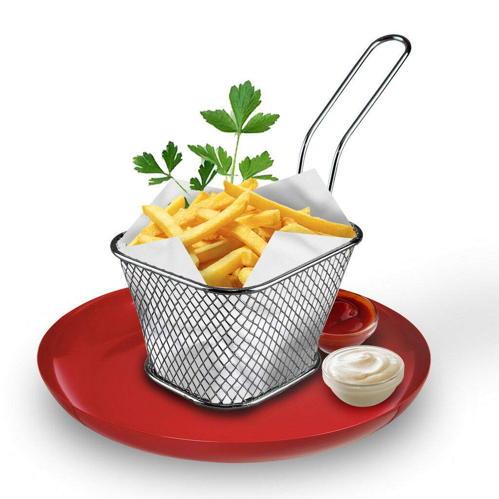 St@llion Stainless Steel Mini Chips Serving Baskets French Fries Crisps Food Dish Party Restaurant Style (Pack of 4) by St@llion