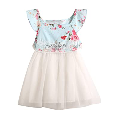 bf8d5d7d3ef96 1Y-6Y Girl Summer Clothes Floral Bowknot Mesh Swing Dress Party Princess  Dress 1-