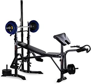 aiyu Adjustable Weight Bench with Barbell Rack, Leg Extension, Preacher Curl, Utility Weight Benches for Full Body Workout, Foldable Flat Incline Decline Bench Press for Home Gym