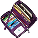 Dante Women's RFID Blocking Pebbled Real Leather Zip Around Wallet Clutch Large Travel Purse(Large Size Purple)