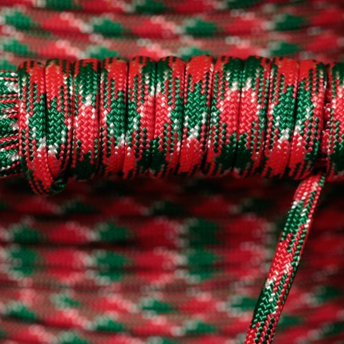Life is More 550 Parachute Cord - 109 Colors - 50 or 100 FT - 7 Strand - Type 3 - USA Made - Paracord (Holly Jolly, 100)