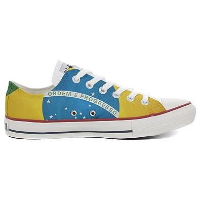 Converse All Star Low Customized personalisierte Schuhe (Handwerk Schuhe) Slim Brasilien