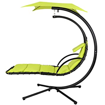 Ancheer 350lbs Max Weight Capacity Hanging Chaise Lounger Chair Arc Stand  Canopy Air Porch Swing Hammock