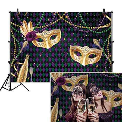 Allenjoy 7x5ft Fabric Mardi Gras Party Backdrop Photography Pictures Purple Gold Mask Mysterious Carnival Masquerade King Queen Prom Dancing Decorations Banner Birthday Photo Booth Background Supplies - Mardi Gras Pictures