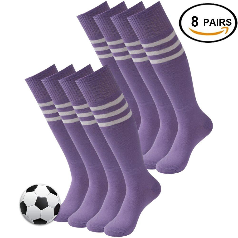 3streetユニセックスニーハイ/ Over Calfトリプルストライプアスレチックチューブソックス3 – 12ペア B0784BH1M7 03#8 Pairs Medium Purple 03#8 Pairs Medium Purple