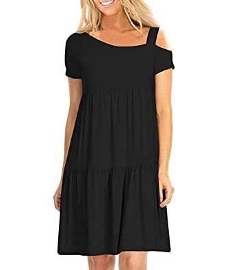 6923f161bf3 Mansy Womens Summer Casual Cold Shoulder Dresses Short Sleeve Ruffle Loose Swing  T Shirt Dress Black