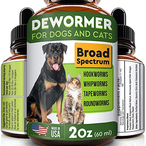 Pawesome Dewormer for Dogs and Cats - Made in USA Broad Spectrum Worm Treatment - Eliminates & Prevents Tapeworms, Roundworms, Hookworms, Whipworms - All Breeds and Size - Puppy & Kitten - 2oz