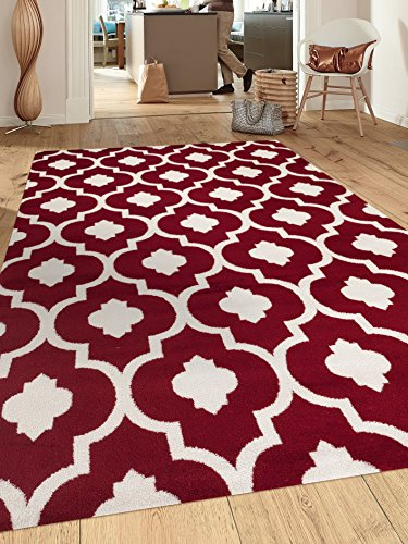 "Rugshop Moroccan Trellis Contemporary Indoor Area Rug, 7'10"" x 10'2″, Red"