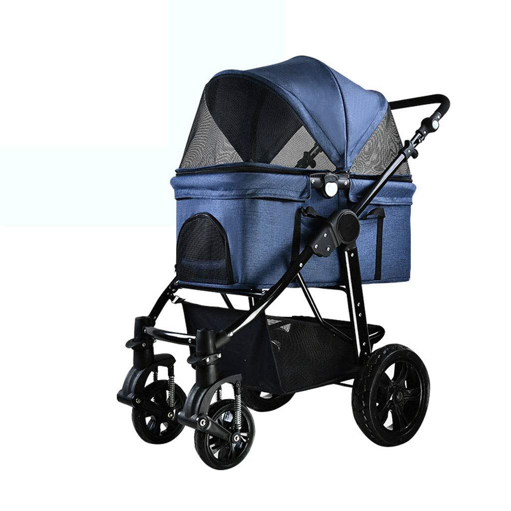 A NYJ Pet Stroller Separate Dog Cart Foldable Lightweight Split Four-wheeled Pet Stroller Small And Medium Sized Dogs Generic (color   A)