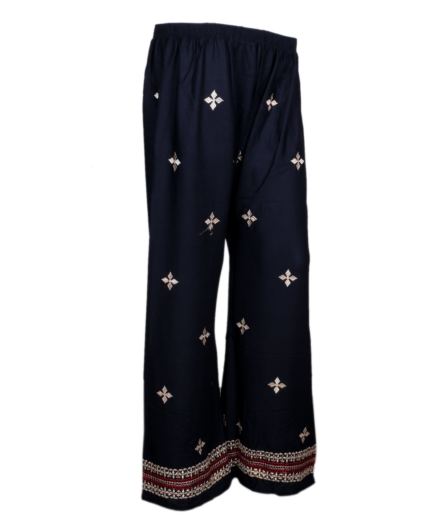 Indistar Black Rayon Embroidered Trendy and Stylish Pallazo Pant For Women_Size-Meduim_71954-MP-IW-M