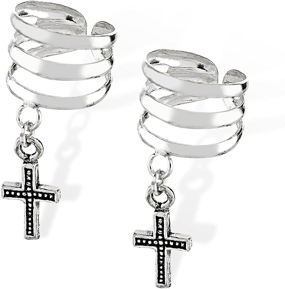 Ear Cuff Wrap 925 Sterling Silver Cross Symbol Dangle Earring Cuff