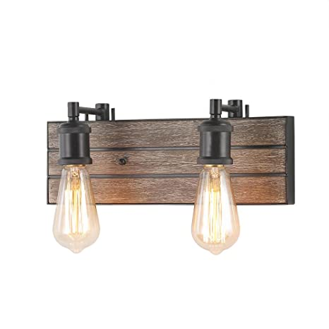 Log Barn 2 Lights Bathroom Vanity Light In Real Antique Wood And