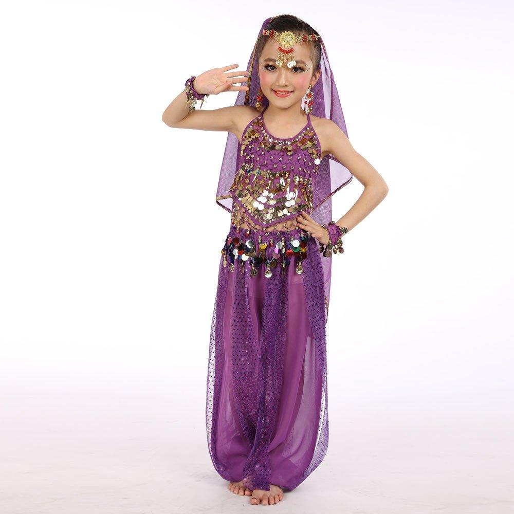 feiXIANG Trajes para niñas Bebé Niños Baile Indio Danza del Vientre Juego de Disfraces Elegante Danza del Vientre Profesional o como un Disfraz: Amazon.es: ...