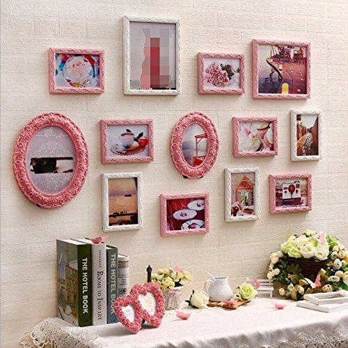 ZZZSYZXL Wohnzimmer Schlafzimmer Massivholz-Foto Wall 13 Box Heart Schnaps Foto Wall kreative Kombination , pink