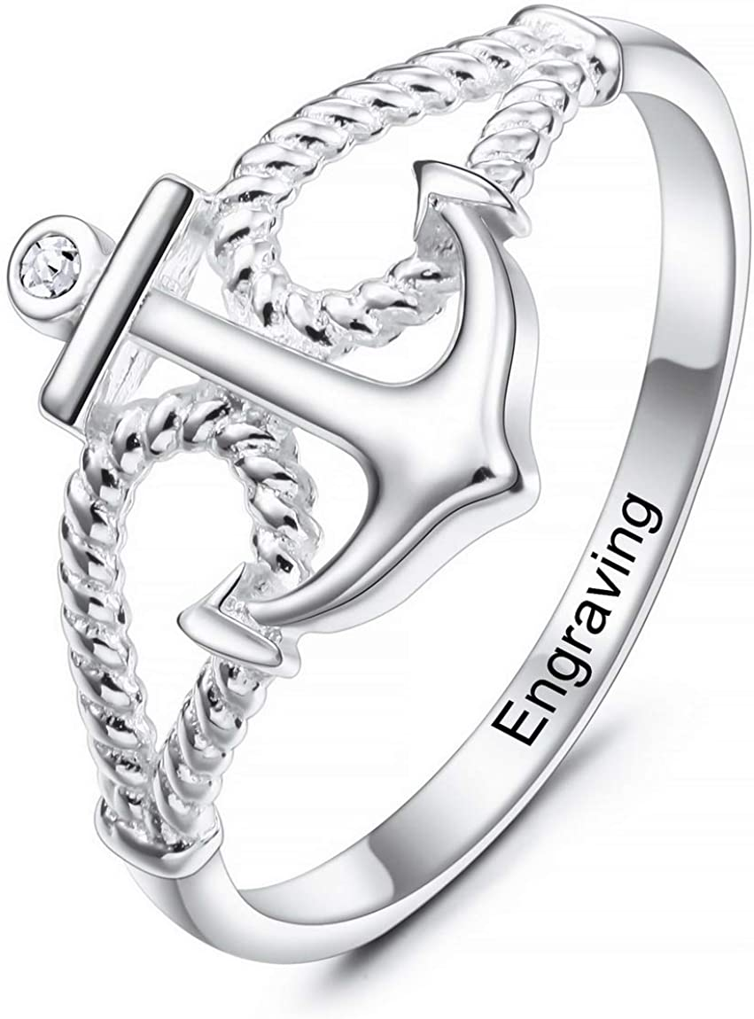 INBLUE Personalized Anchor BFF Friendship Rings Engraved Name Date Custom Rings for Women Girls Lover Sisters Sterling Silver Engagement Wedding Promise Jewelry for Mothers Day Valentines Day