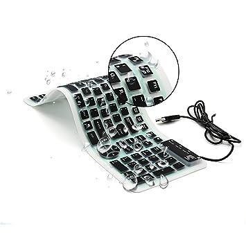 CHIN FAI Teclado de Silicona Plegable Teclado Flexible Teclado de ...