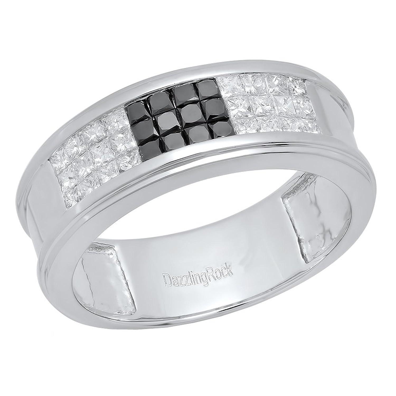 1.25 Carat (ctw) 10K White Gold Black & White Diamond Men's Invisible Set Wedding Band Ring 1 1/4 CT