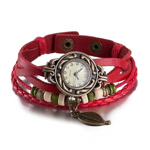 5ff717d6dff2 Reloj Brazalete Analógico de Cuarzo de Mujer con Diseño en Forma de Hoja y  Correa de Cuero  Amazon.es  Relojes