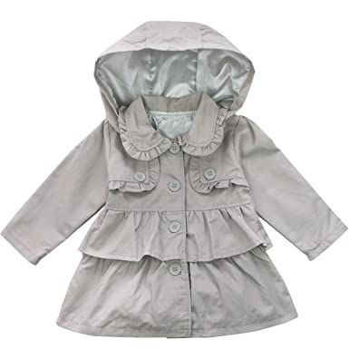 74ab1e35f2b4 TiaoBug Kids Baby Girls Hooded Jacket Fall Winter Cotton Trench Wind ...