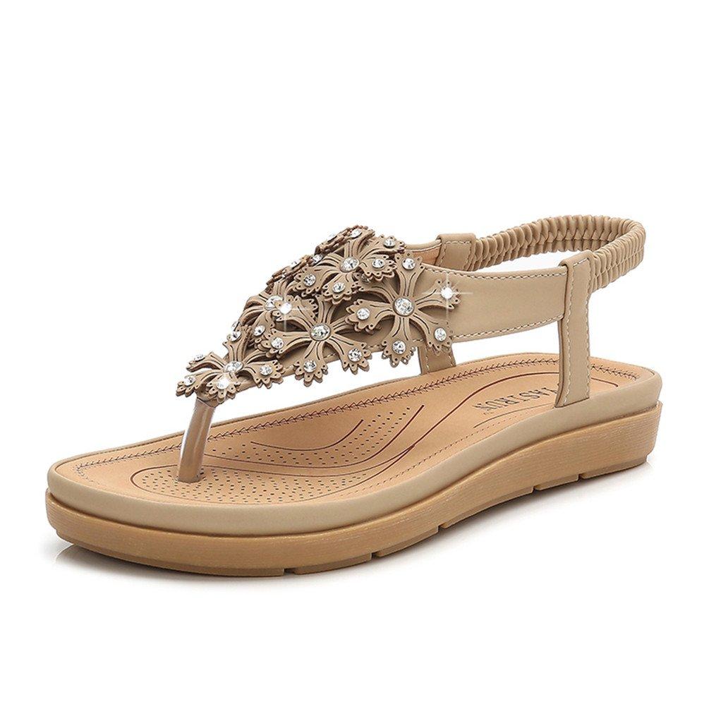 Fashion Pier Damen Bohemia Sandalen Zehentrenner Strass Elegant Sandalen Sommerschuhe Elastischen Strand Schuhe Gr.35-41  39 EU|Beige
