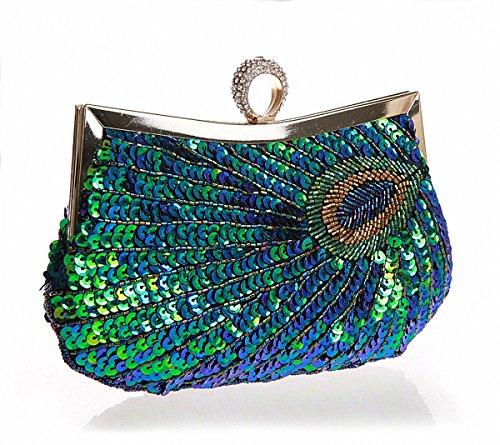 Pulama Woman Handbag Beaded Clutch PEACOCK SEQUINS Purse/Wallet/Evening Bag, Handmade for Wedding Party ()