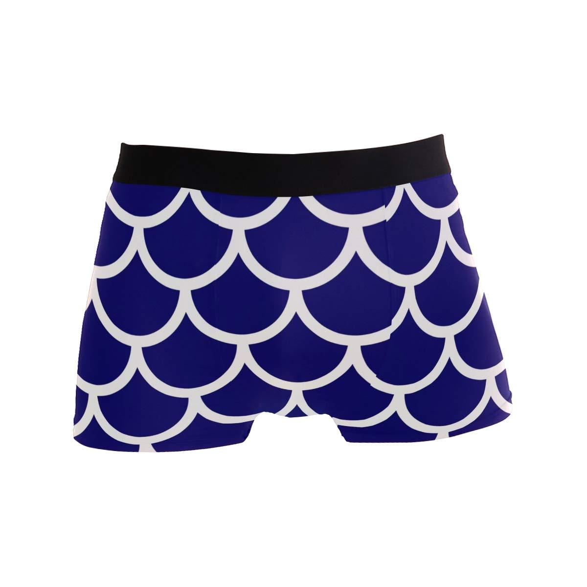 YYZZH Dark Blue Mermaid Scales Fish Scales Japanese Traditional Ornament Mens Boxer Briefs Man Underwear