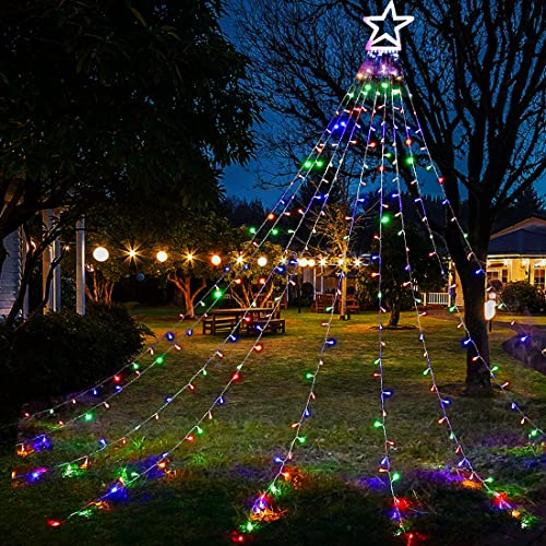 Christmas Decorations Outdoor Lights,317 LED Star Christmas Tree Waterfall Lights,8 Lighting Modes Outside Tree Decoration Lights for Yard,Wedding,Party,New Year Holiday Decor (Multicolor)